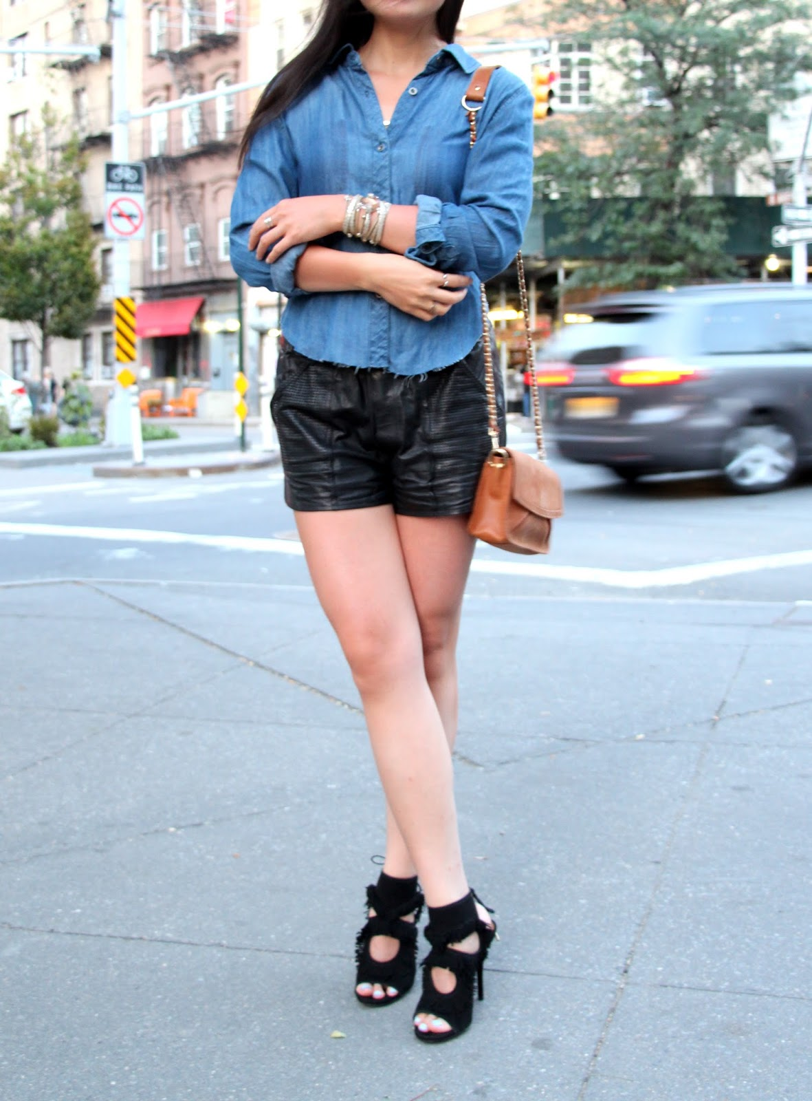 rails denim cutoff shirt alc parker leather shorts aquazzura fringe heels