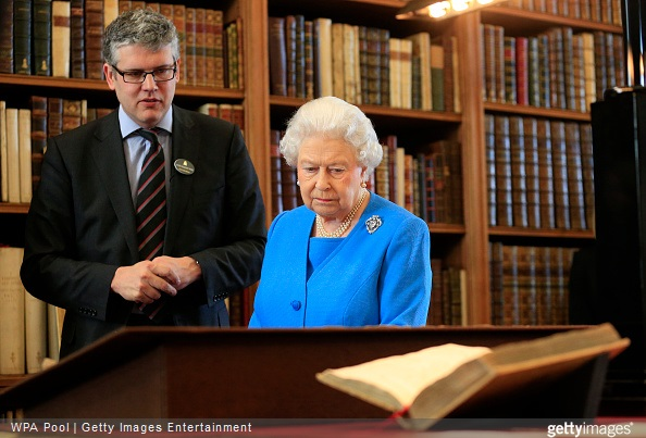 Queen Elizabeth II is shown items from the George III Collection pertaining to science and the Arts, including the 1765 Eardley Norton clock by Royal Librarian Oliver Urquhart Irvine while attending the launch of the George III Project at an event held in the Royal Library in Windsor Castle