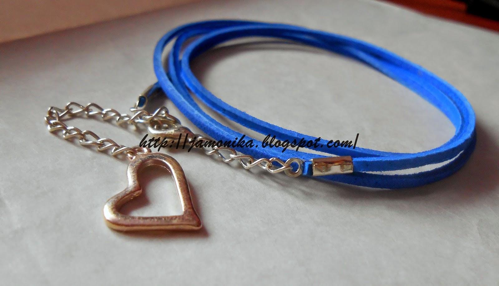 Niebieska bransoletka z rzemyka
