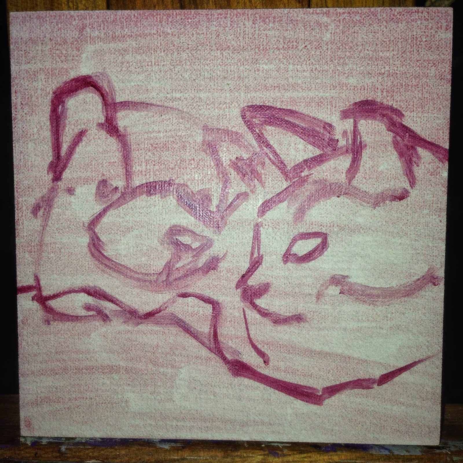 """You've Got a Friend in Me"" cat painting, the rough in stage"