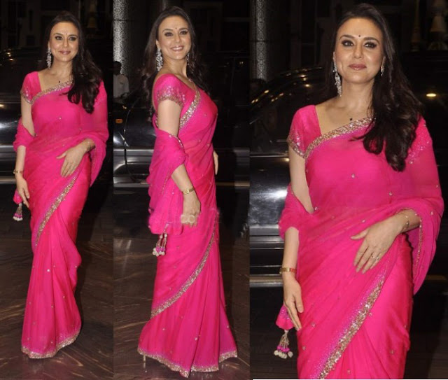 Preity Zinta was Looking Stunning in Pink Saree