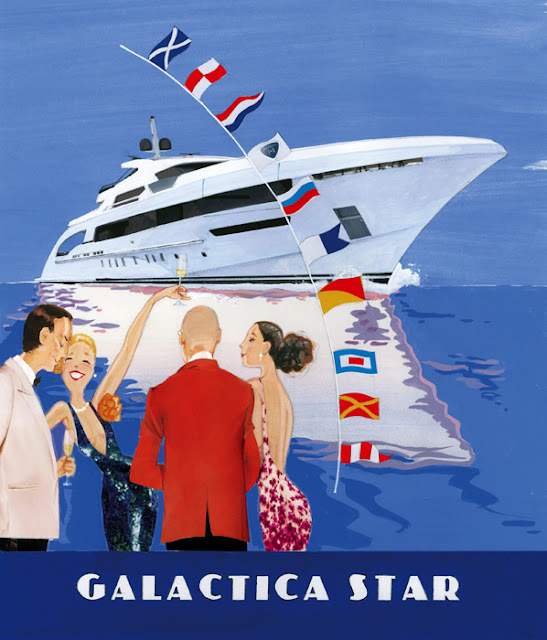 Illustration of mega yacht Galactica Star by Robert Wagt