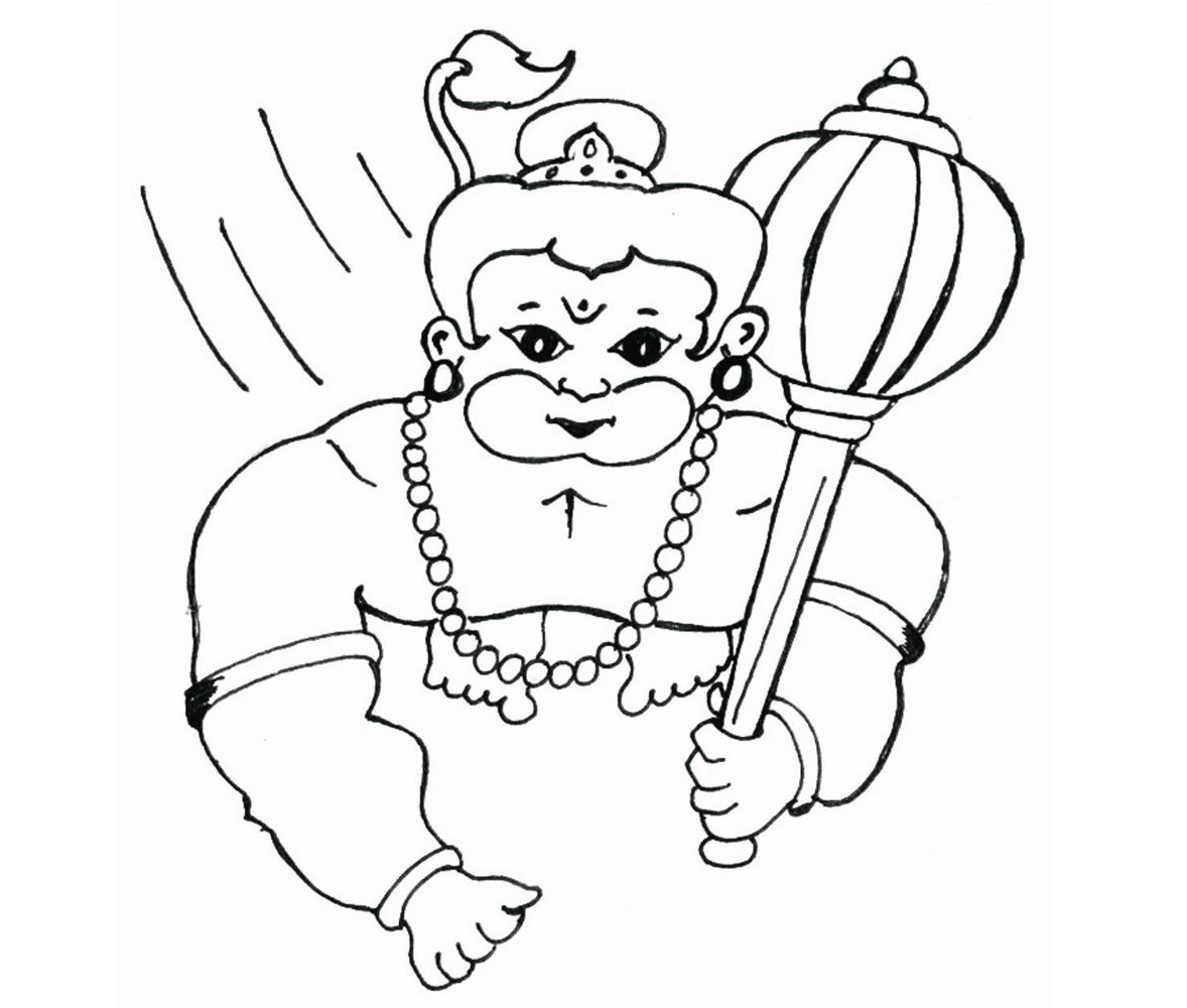 Colour Drawing Free Wallpaper Lord Hanuman Coloring Drawing Free Wallpaper