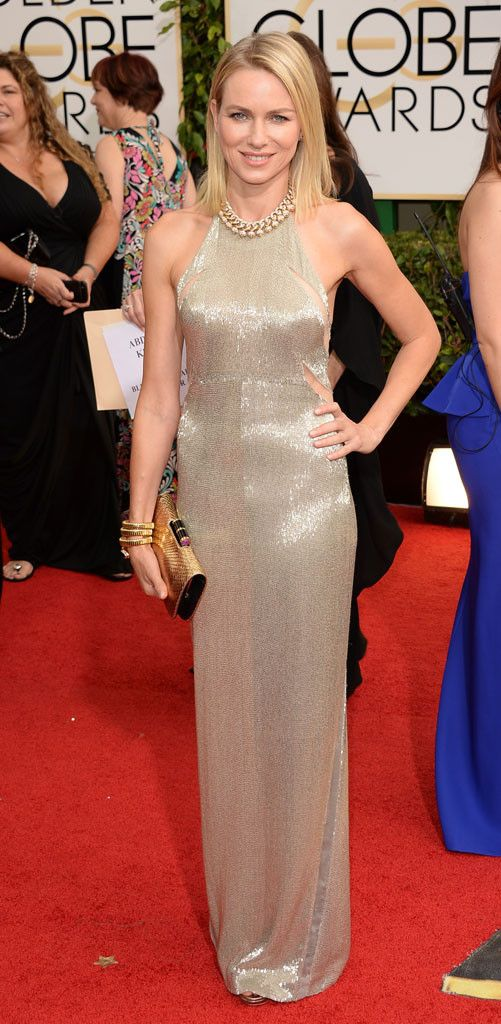 Naomi Watts in a silver Tom Ford gown at the 2014 Golden Globe Awards