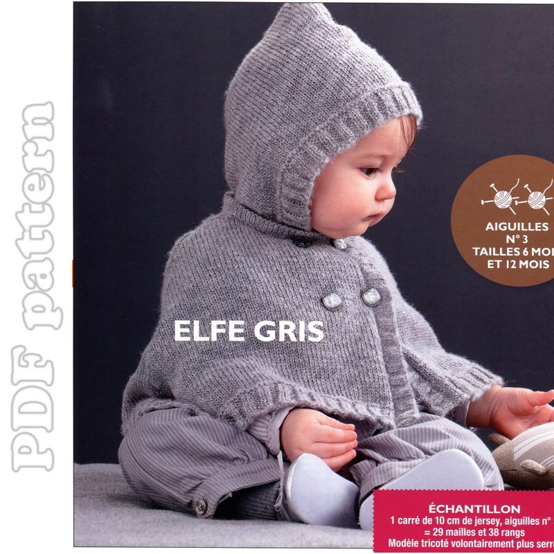 Knitting Pattern Cape Child : ENGLISH Baby Hooded Cape Knitting Pattern PDF CraftyLine e-pattern shop