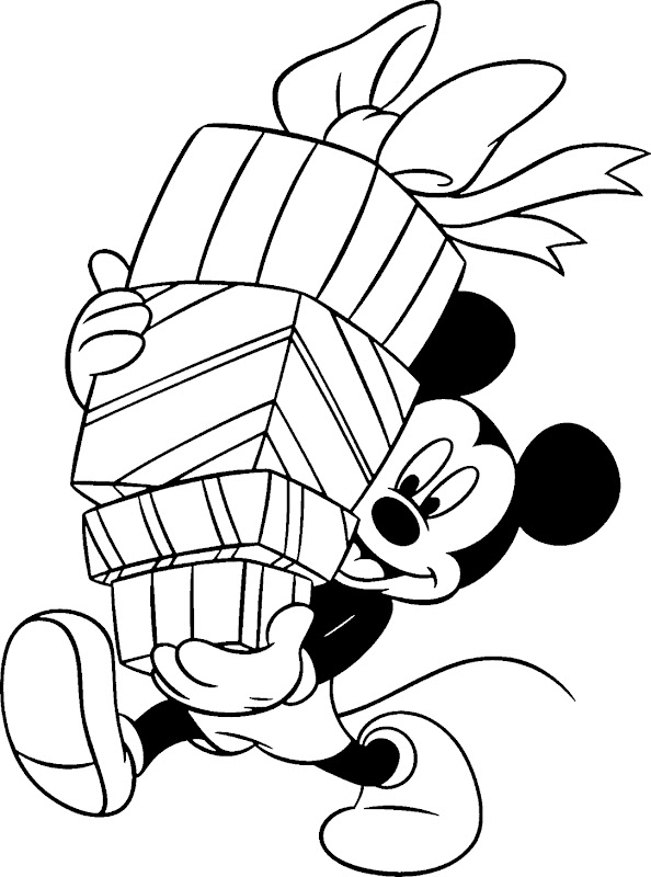 Mickey Mouse Coloring 3 Mickey and gifts title=