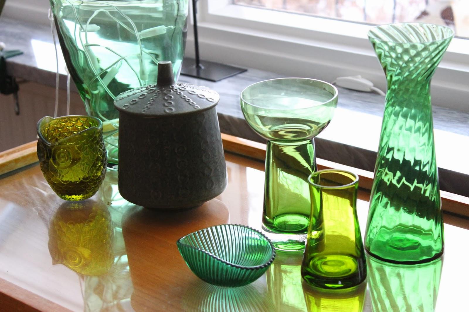 serveringsvagn, grönt glas