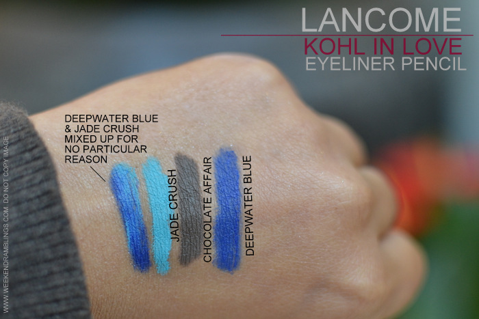 Lancome in Love Spring 2013 Makeup Collection Kohl Eyeliner Pencils Indian Beauty Blog Swatches Jade Crush Chocolate Affair Deepwater Blue