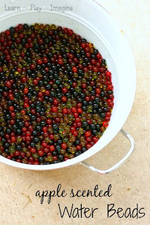 How to make apple scented water beads for fall themed sensory play
