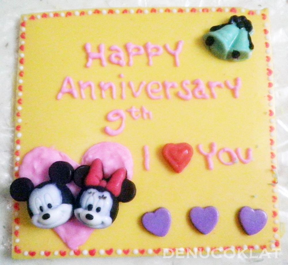 Coklat Ucapan Anniversary tema mickey mouse