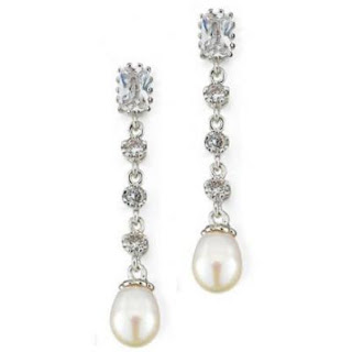 bridal earrings pearl and crystal