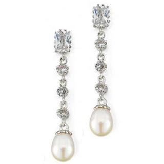 bridal earrings pearl and crystal