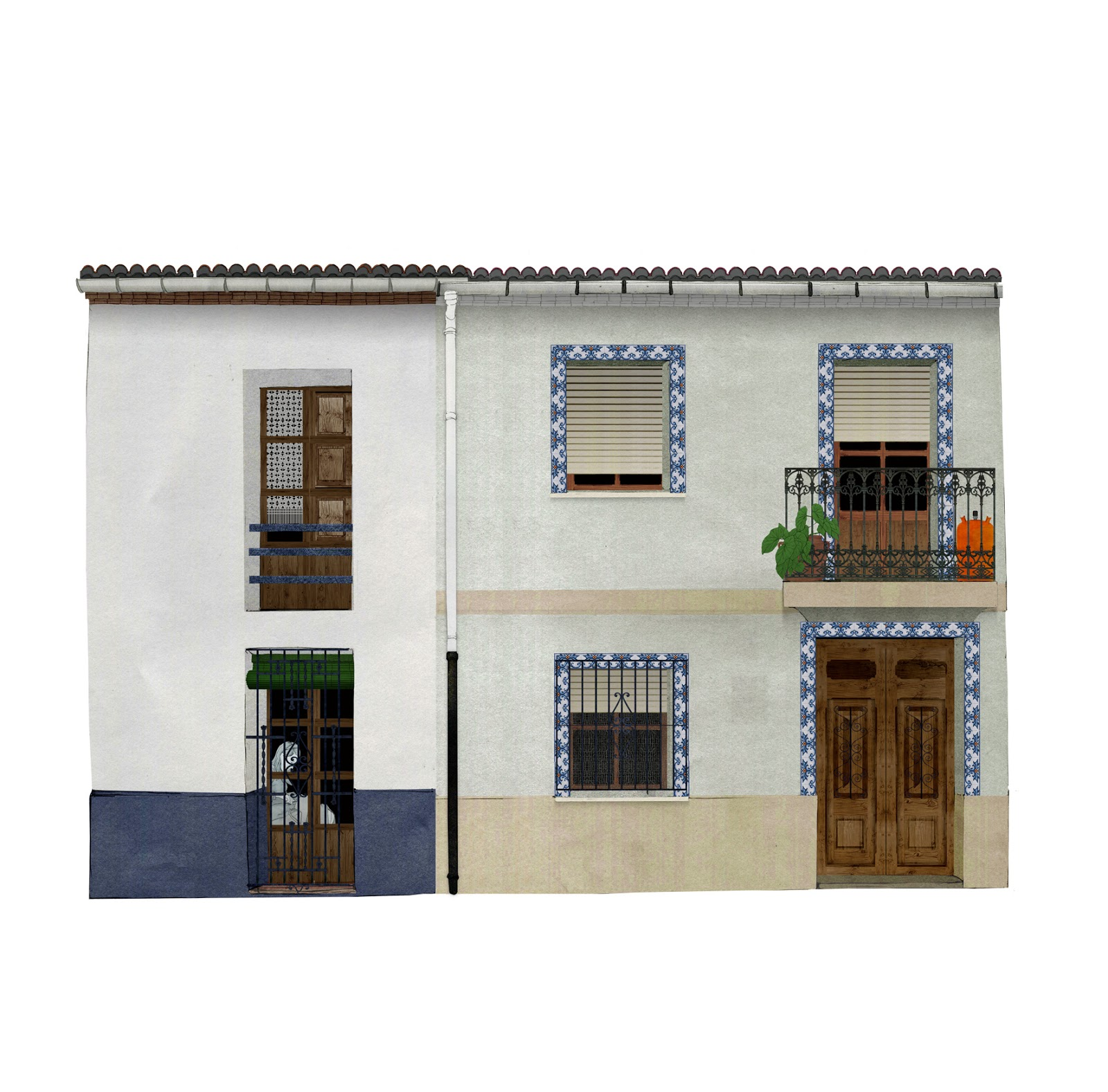 Casa original, casa reformada. fachadas, dibujo