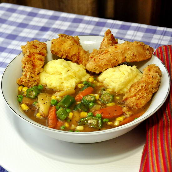 Fried Chicken Stew with Corn Flour Dumplings