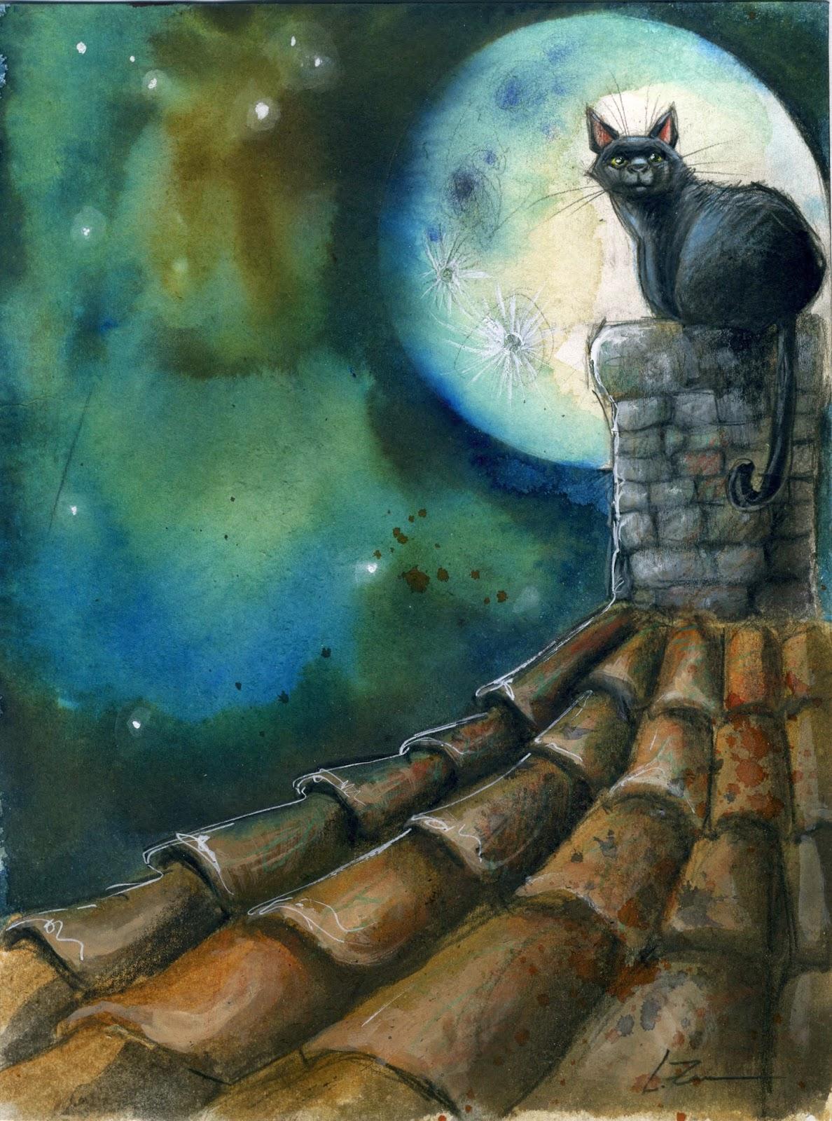 Gato negro sobre el tejado | Oniris Art - Leticia Zamora