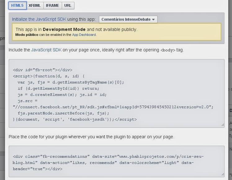 Editar e obter código do widget dos posts recomendados