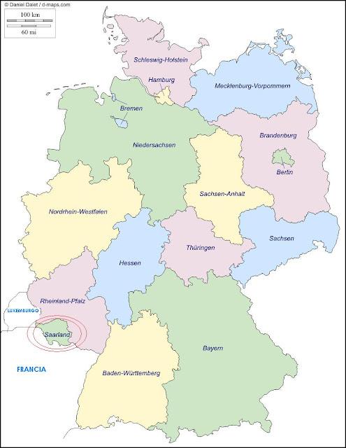 mapa de Alemania, landers, estados federales
