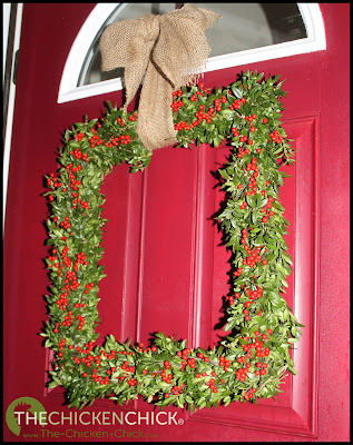 Square Boxwood Holiday Wreath via www.The-Chicken-Chick.com