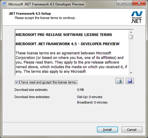 .Net Framework Developer Preview 4.5 Offline Installer