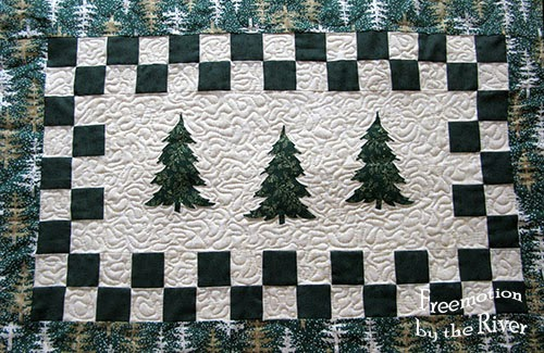 3 Evergreen trees table runner at Freemotion by the River