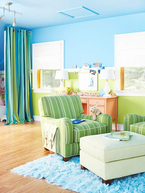 Modern furniture decorating design ideas 2012 with blue color Cheerful colors to paint a room