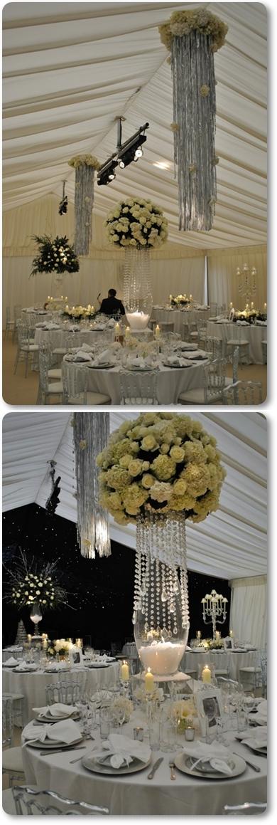 bröllopsdukning vinter vitt