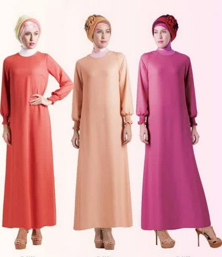 Contoh trend fashion modern baju muslim gamis model terbaru
