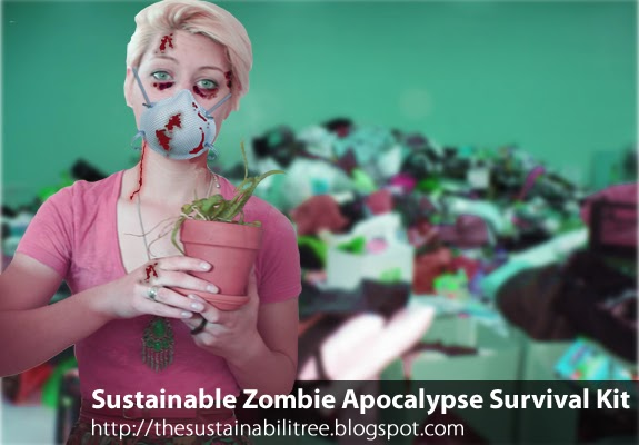 girl, blood, plant, pile of donations, mask, zombie