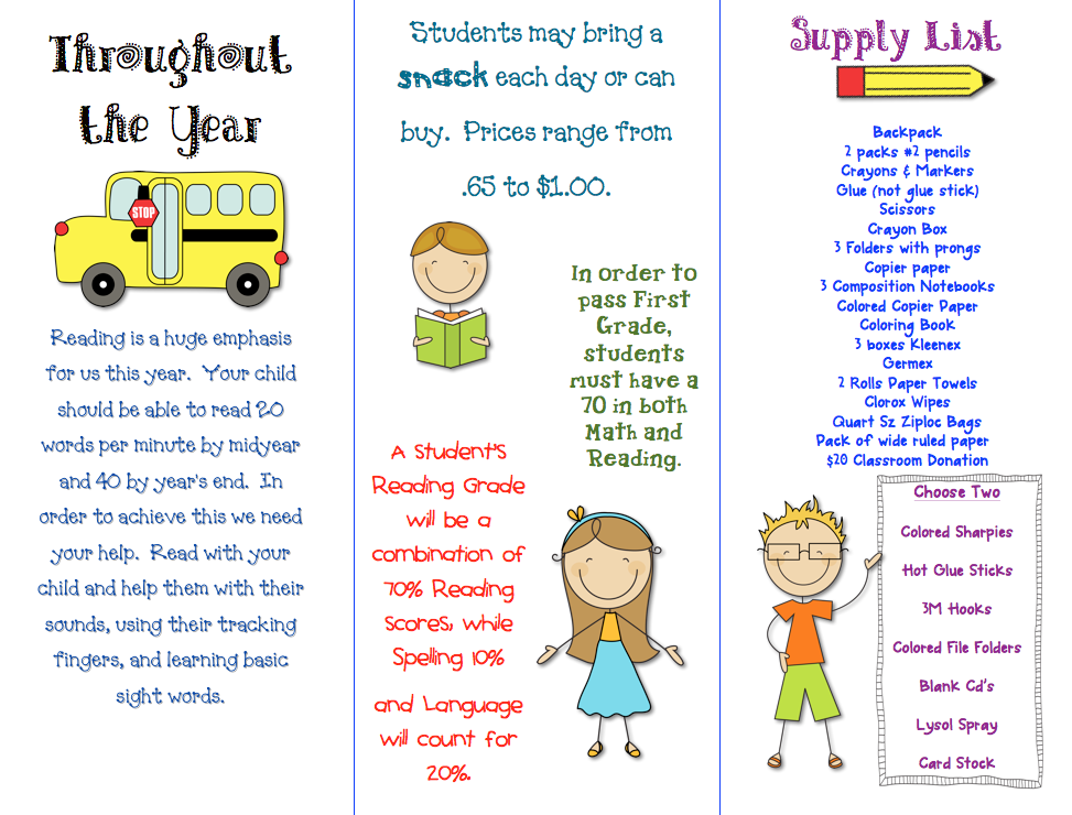 Class Brochure - First Grade Blue Skies