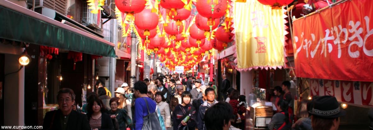 Barrio chino de Nagasaki celebrando el año nuevo