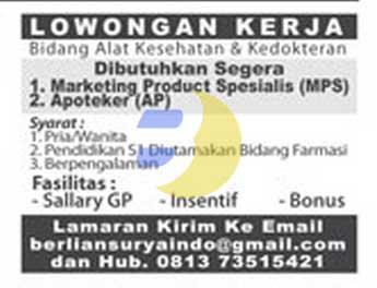 Lowongan Kerja APOTEKER Terbaru 2015 di Lampung