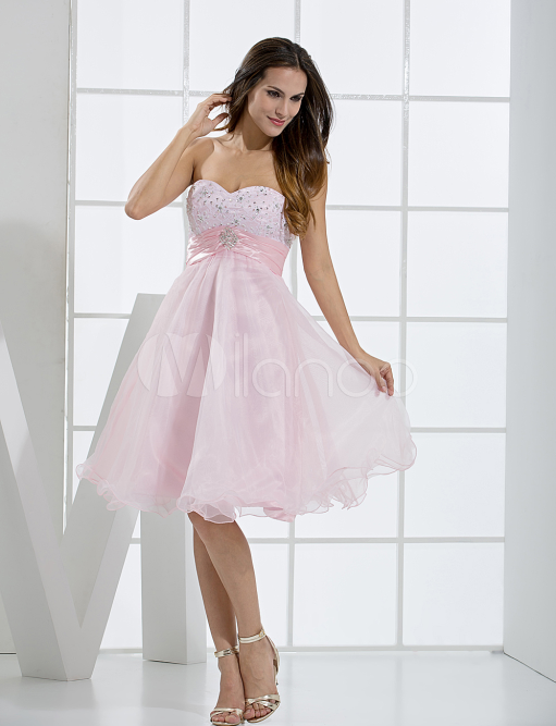 China Wholesale Dresses - Cute Pink Sweetheart Neckline Tulle A-line Womens Homecoming Dress