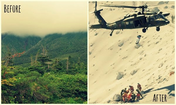 Before and After photos of Mt Ontake Volcanic Eruptions in Japan via geniushowto.blogspot.com Natural disaster scene-5