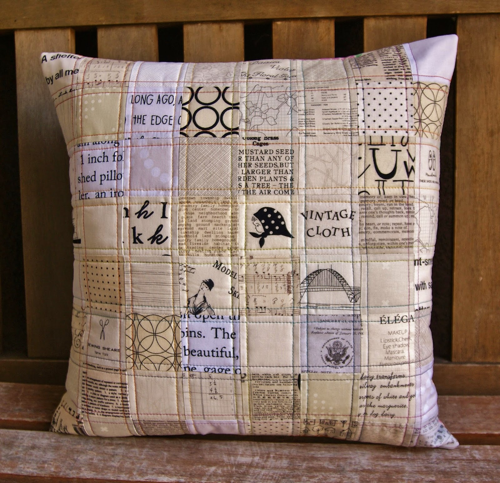 Silent Film Pillow by Heidi Staples for Quilt Now Magazine