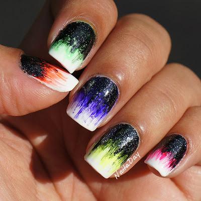 NailaDay: Neon Brushstroke skittles mani