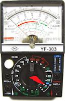 multímetro analógico situado en la escala menor del instrumento Rx1