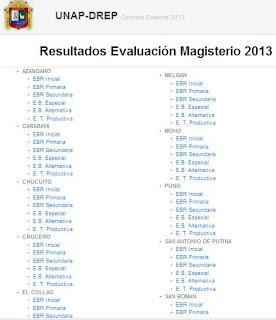 los resultados del examen general para el contrato de docentes 2013