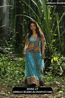 Tamanna in blue low hip saree