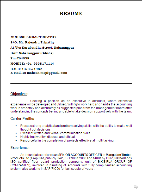 sample resume  mba  finance and h r  with 8 years experiance
