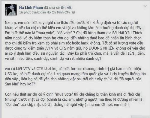 Hà Linh bị tố bỏ tiền mua vote The Voice - 2