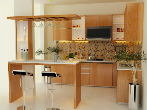 Lovely Interior Kitchen Design With Mini Bar