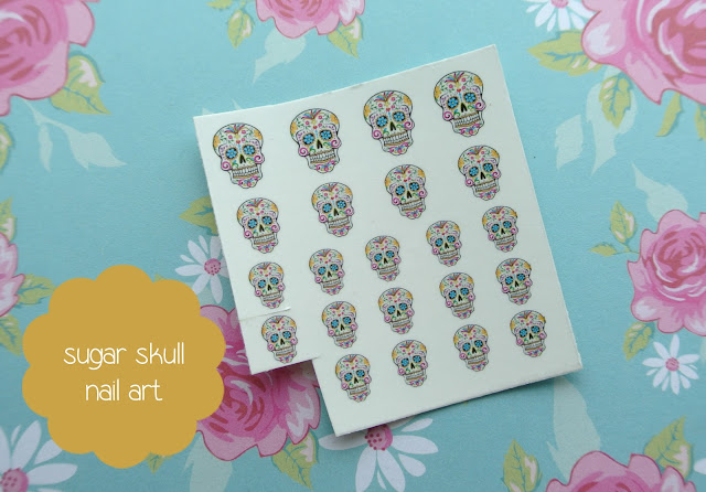 sugar skull nail decals