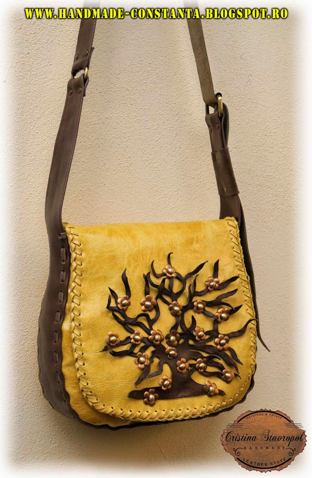 "Leder-Tasche, ""Baum des Lebens""."