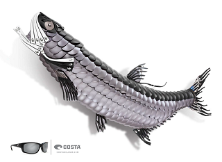 Costa tarpon sunglass optical lens art sculpture