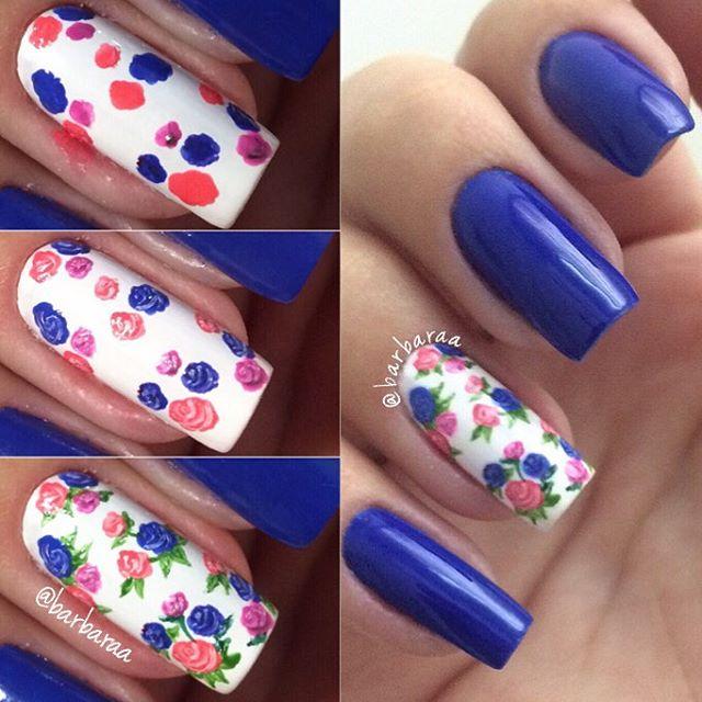 Cómo hacer diseño de rosas en las uñas paso a paso