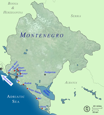 Map of Montenegro Country and City