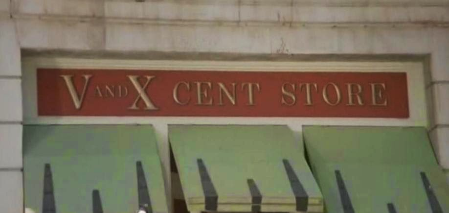 Picture of five and dime store but in Roman Numerals