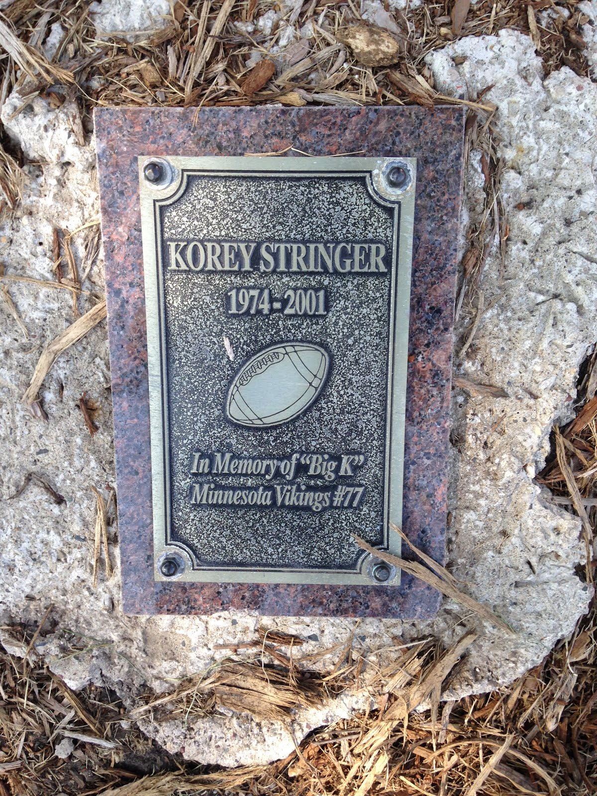 Korey Stringer plaque at Vikings TC