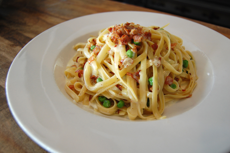 Spaghetti Alla Carbonara With Peas Recipe — Dishmaps