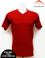 Jual Kaos Polos V Neck merah cabe